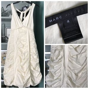 Marc Jacobs Deep V Ruched Tiered Balloon Hem Dress